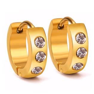 Šperky4U Zlacené ocelové náušnice - kroužky - OPN1347-GD