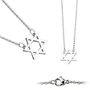 Šperky4U Ocelový náhrdelník - Davidova hvězda - OPD0021-ST