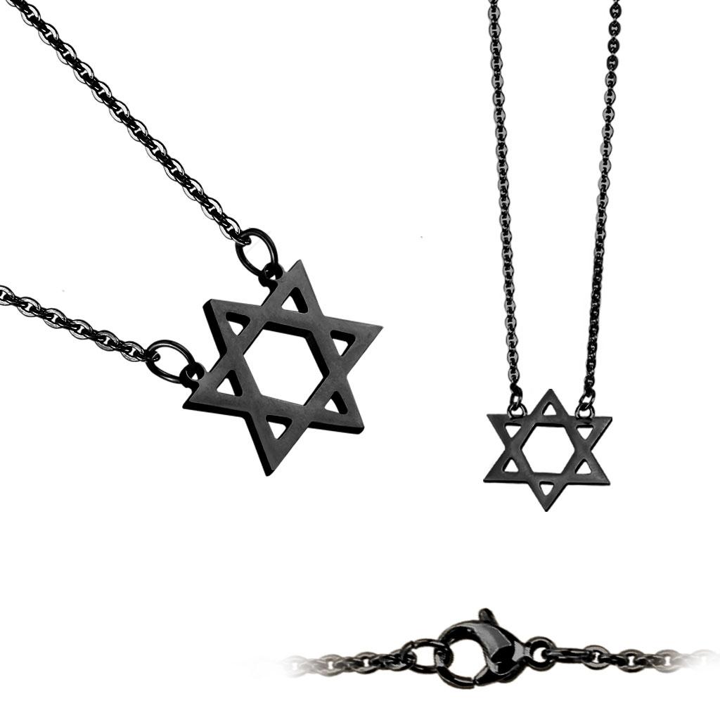 Čierny oceľový náhrdelník - Dávidova hviezda
