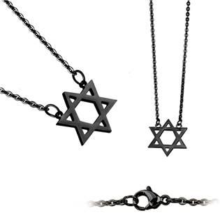 Šperky4U Černý ocelový náhrdelník - Davidova hvězda - OPD0021-K