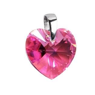 Stříbrný přívěšek srdce z dílny Crystals from Swarovski® Pink 14x14 mm