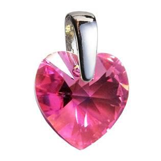 Stříbrný přívěšek srdce z dílny Crystals from Swarovski®, Pink 10x10 mm