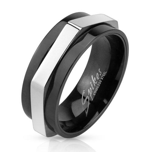 Pánsky oceľový prsteň rotačný, veľ. 65