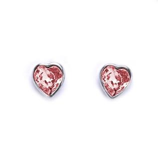 Skrutkovacie strieborné náušnice so srdiečkami Crystals from SWAROVSKI®, farba: LIGHT ROSE