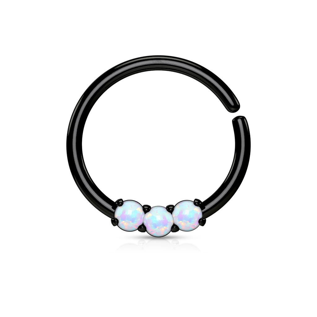 Čierny piercing do nosa / ucha kruh s bielymi opálmi