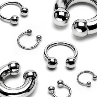 Piercing - podkova 1,6x10 mm, 5 mm kuličky