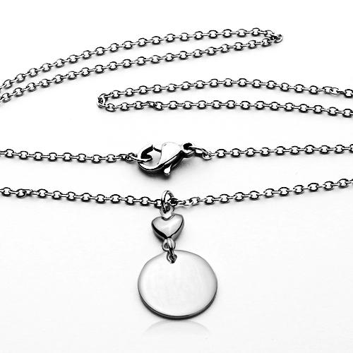 Oceľový náhrdelník s kruhovou doštičkou