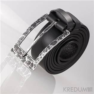 Levně KREDUM® Hynek Kalista Kožený opasek 3,5 cm - kovaná nerezová spona - Partner 3,5X - Draill, barva černá - KS7023A