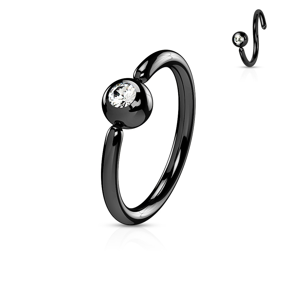 Piercing - čierny kruh, gulička 3 mm
