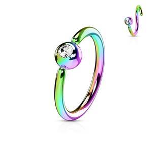 Piercing - duhový kruh, kulička 3 mm