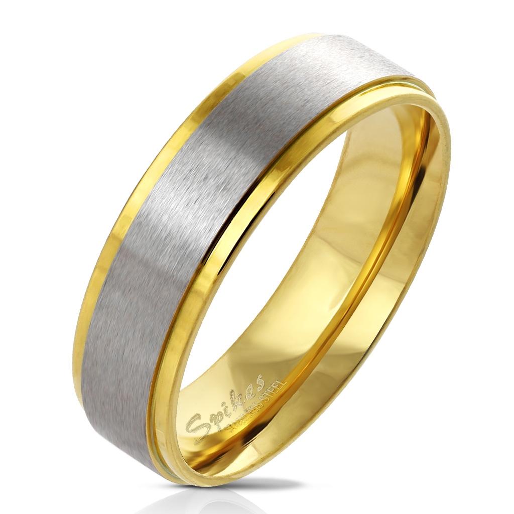 Dámsky oceľový prsteň pozlátený, šírka 6 mm