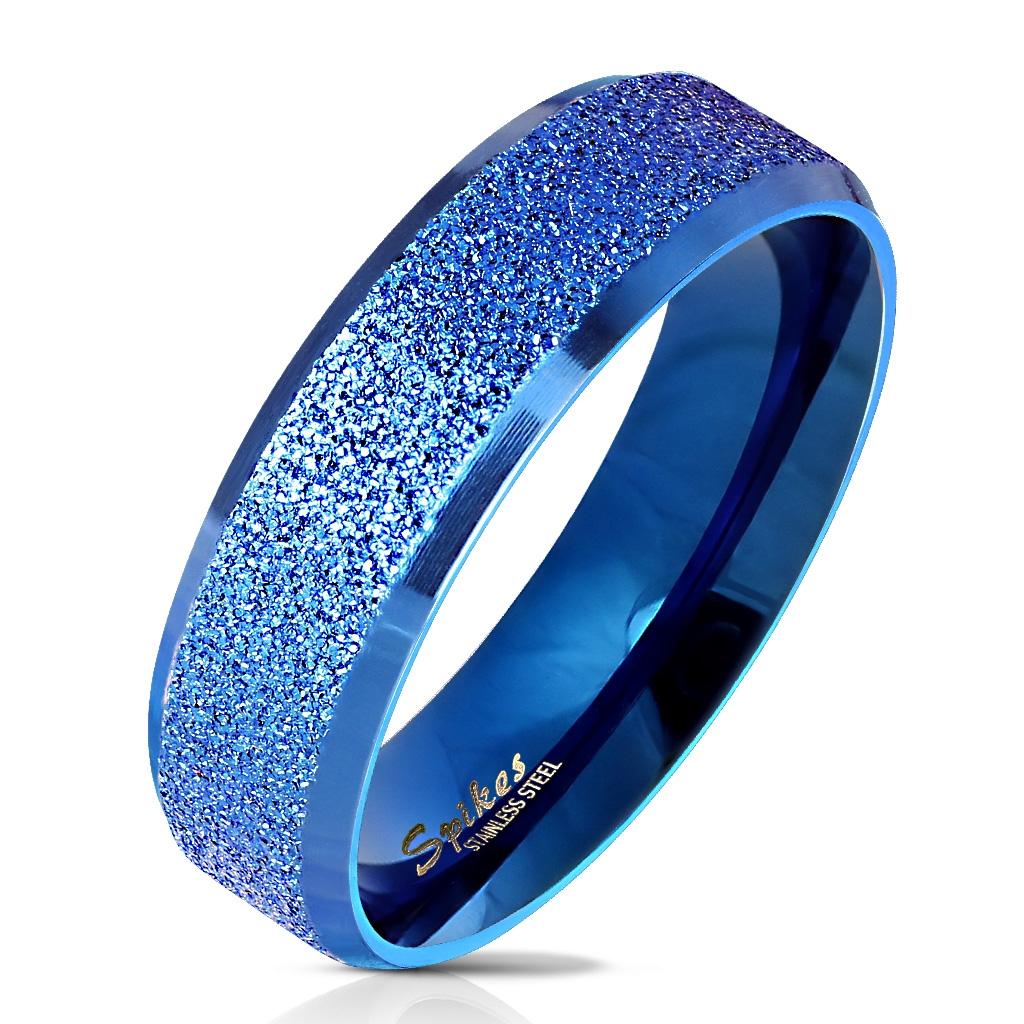 Modrý oceľový prsteň pieskovaný, veľ. 62