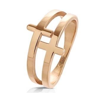 Zlacený ocelový prsten s kříži