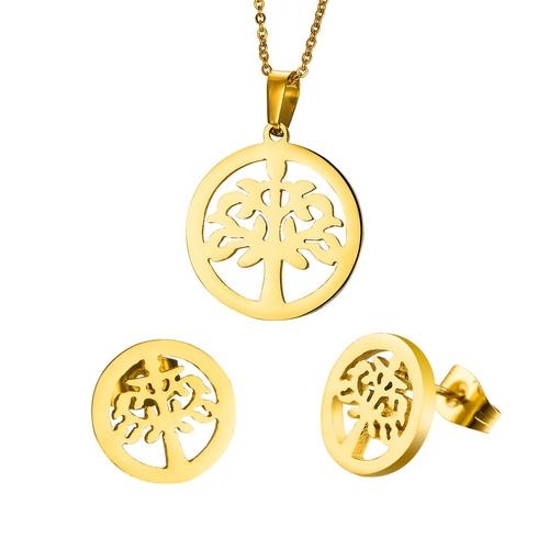 Pozlátený set šperkov z chirurgickej ocele, strom života
