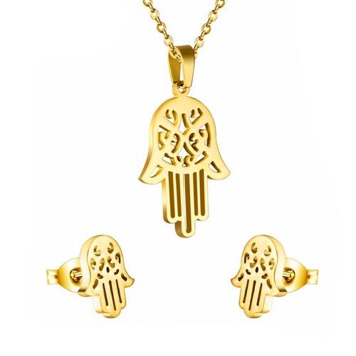 Pozlátený set šperkov z chirurgickej ocele, hamsa ruka Fatimy