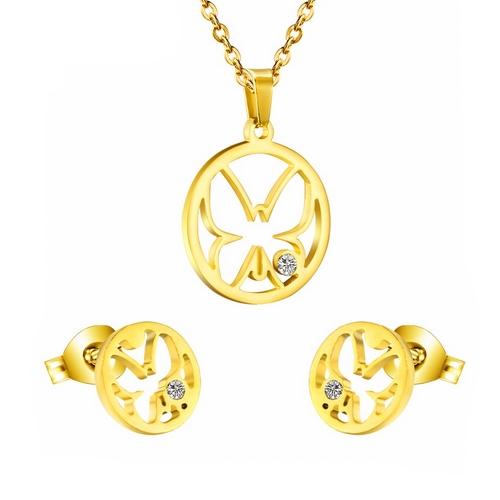 Pozlátený set šperkov z chirurgickej ocele, motýle