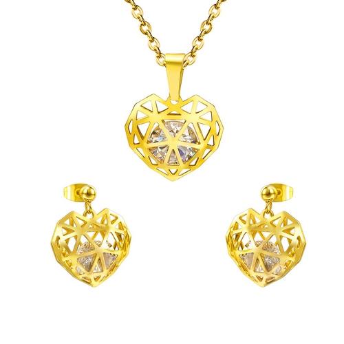 Pozlátený set šperkov z chirurgickej ocele, srdiečka