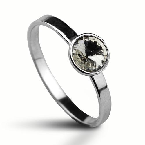 Strieborný prsteň s kameňom Crystals from Swarovski ®, farba: CRYSTAL