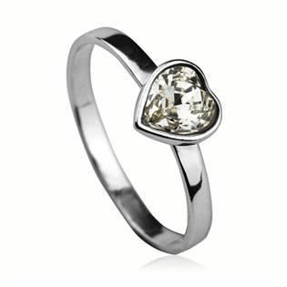 Stříbrný prsten se srdíčkem Crystals from SWAROVSKI®, barva: CRYSTAL