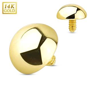 Zlatý piercing - dermál půlkulička 4 mm, Au 585/1000