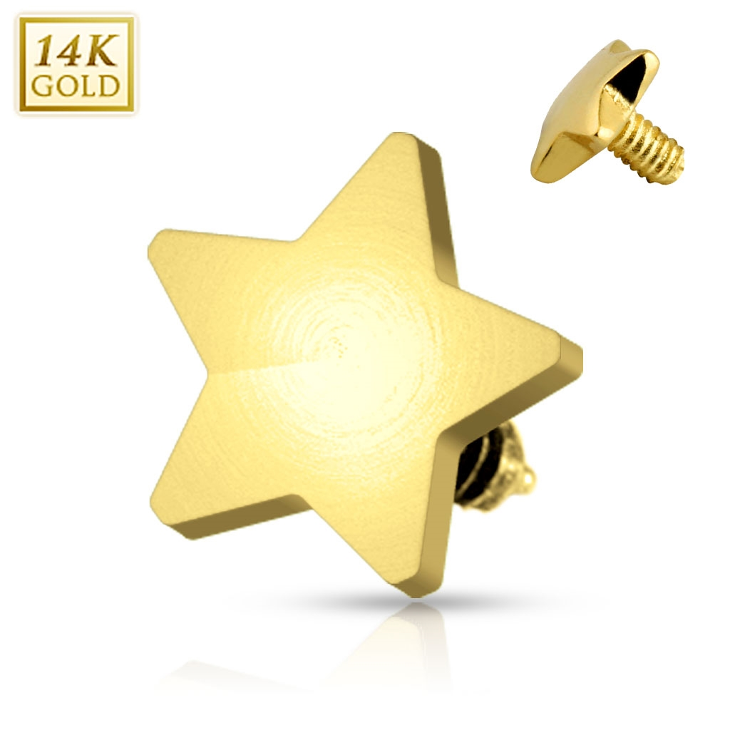 Zlatý piercing - dermal hviezdička 4 mm, Au 585/1000