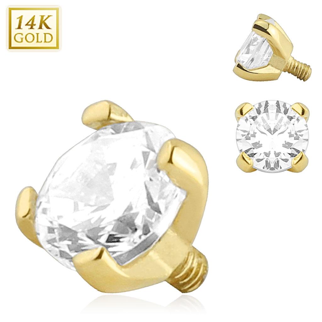 Zlatý piercing - dermal zirkón, Au 585/1000