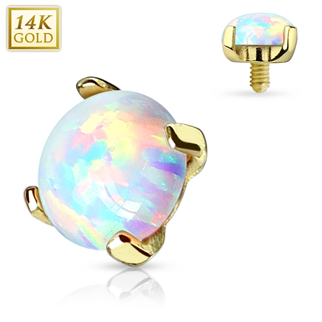 Zlatý piercing - dermal opál, Au 585/1000