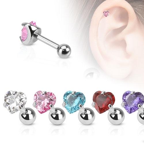 Cartilage piercing do ucha srdíčko, zirkon 4 mm