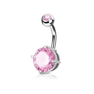 Piercing do pupíku, růžový kámen 10 mm