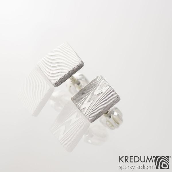 Kované damasteel naušnice Quatro mini KS2022