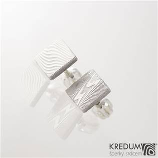 Kované damasteel naušnice Quatro mini