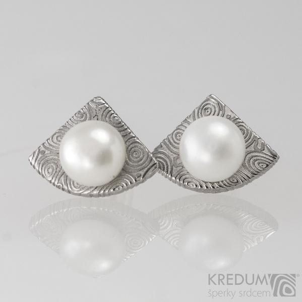 Kované damasteel naušnice s perlami - Raníčky KS2023