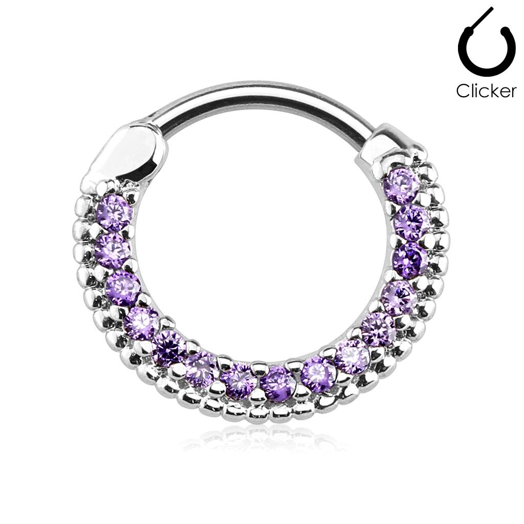 Oceľový piercing do nosa - septum, fialové kamienky