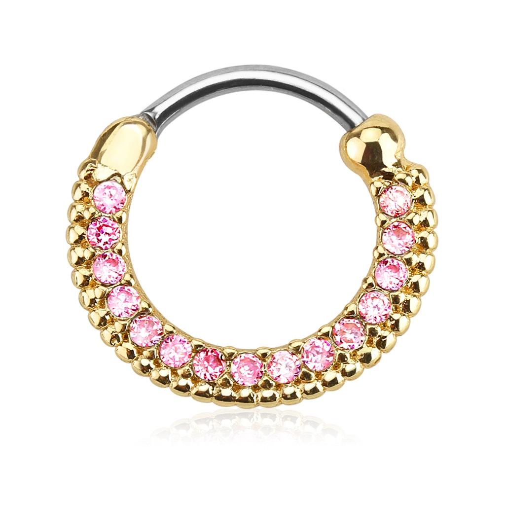 Zlacený piercing do nosu - septum, růžové kamínky