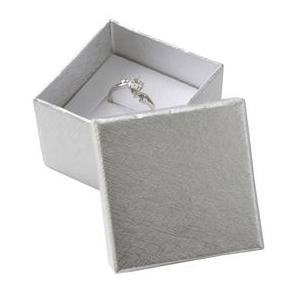 Darčeková krabička na prsteň alebo náušnice - strieborná