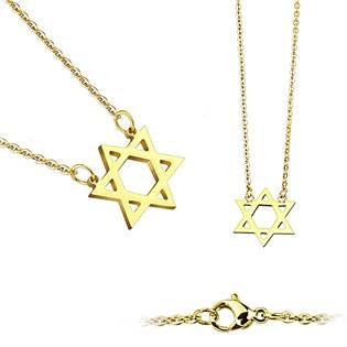 Šperky4U Zlacený ocelový náhrdelník - Davidova hvězda - OPD0021-GD
