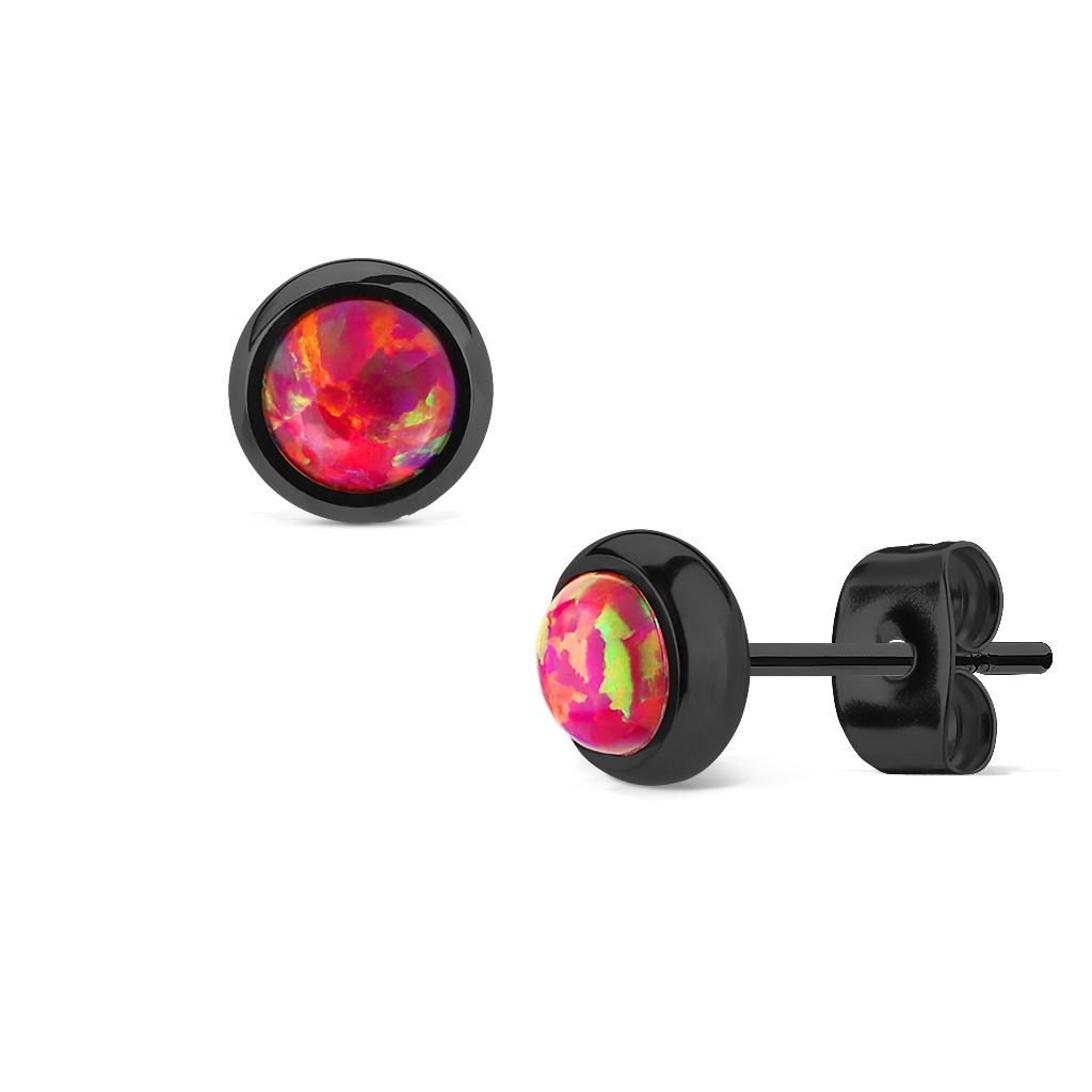 Čierne oceľové náušnice s tmavo ružovými opálmi