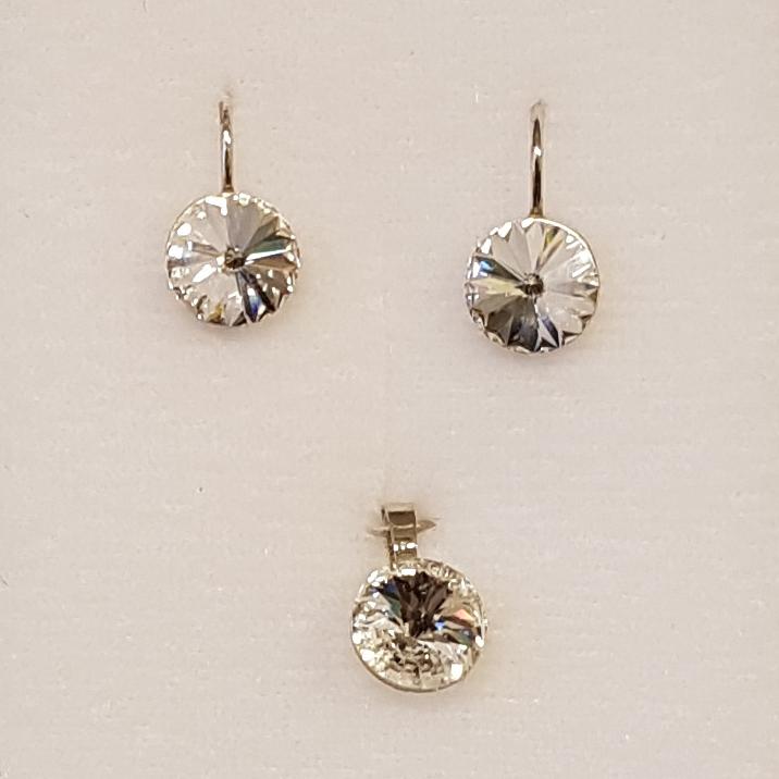 Strieborné náušnice a prívesok s kryštálmi Crystals from Swarovski ®, Crystal 8 mm