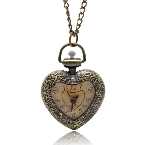 Retro vreckové hodinky - srdce