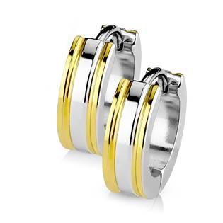 Šperky4U Ocelové náušnice - kroužky zlacené - OPN1411-GD