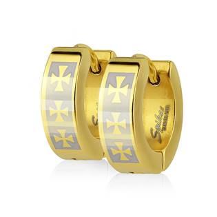 Šperky4U Ocelové náušnice - kroužky s maltézkými kříži - OPN1217-GD