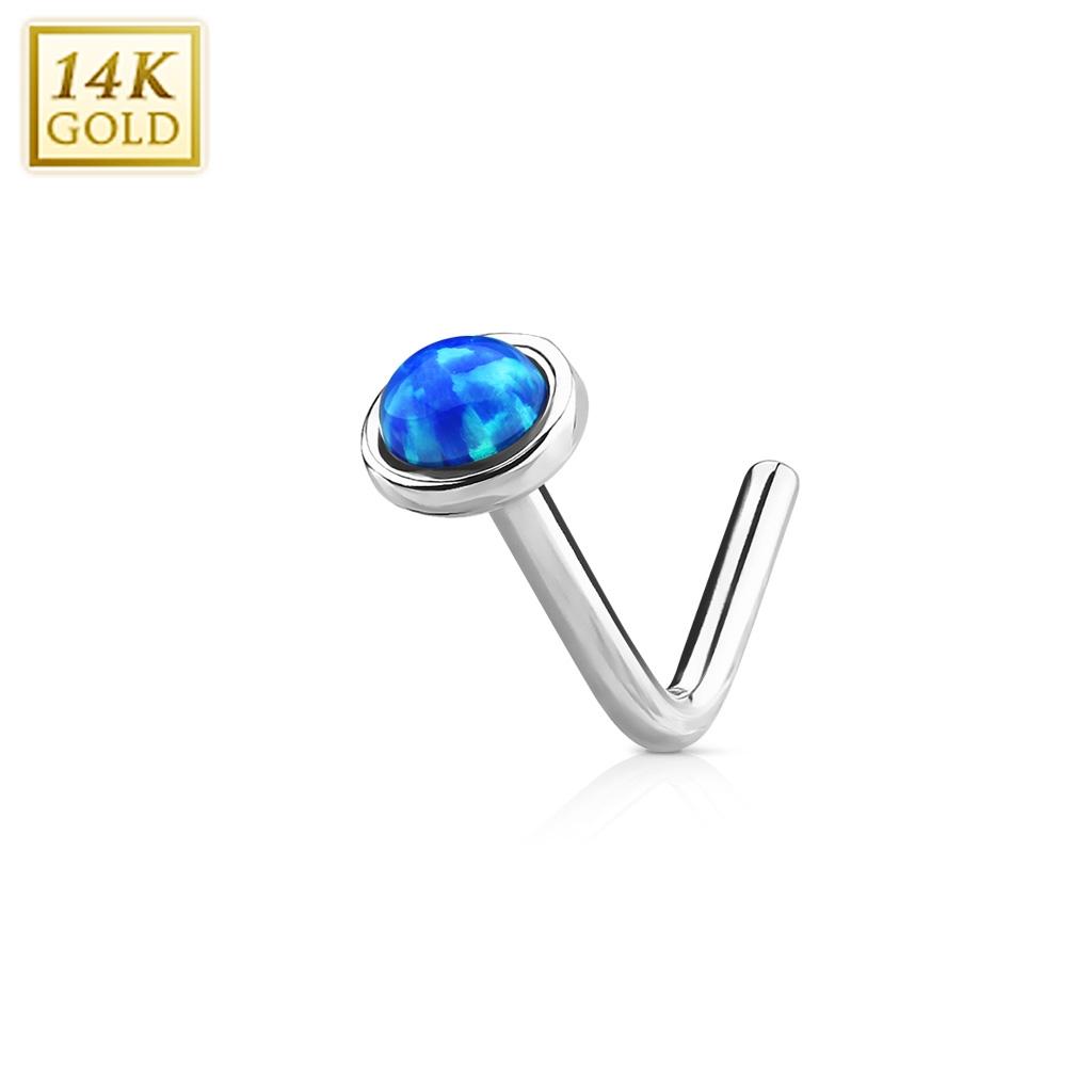 Zlatý piercing do nosu Opál, Au 585/1000 ZL01022B-WG