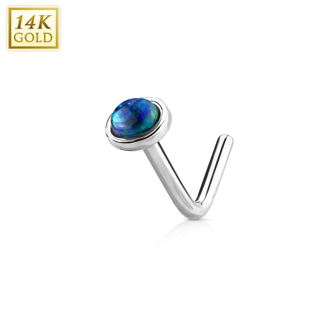 Zlatý piercing do nosu Opál, Au 585/1000 ZL01022G-WG