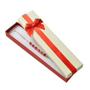 Darčeková krabička na náramok, červená mašľa