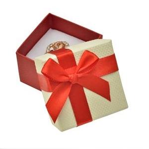 Darčeková krabička na prsteň alebo náušnice, červená mašľa