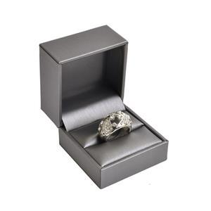Darčeková krabička na prsteň, kovovo šedá