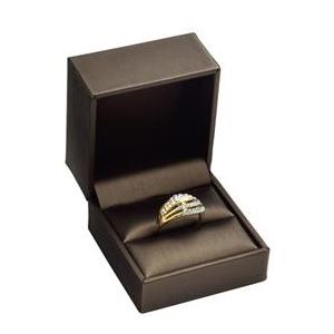 Darčeková krabička na prsteň, kovovo hnedá