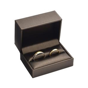 Darčeková krabička na svadobné obrúčky, kovovo hnedá