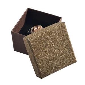 Darčeková krabička na prsteň alebo náušnice, striebristo hnedá