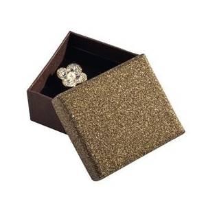 KR0053-BR Dárková krabička na náušnice, stříbřitě hnědá